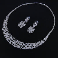 DreamCarnival 1989 Royal Luxury Necklace and earrings Sparkling White CZ Rhodium color Wedding Jewelry Sets for Women WN721S2