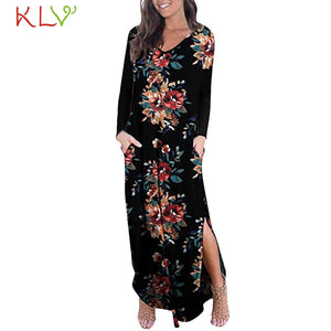 Dress Women Elegant Print Long Sleeve Maxi Dress with Slit Party Wedding Casual