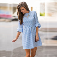 Dress Women Striped Elegant Flare Sleeve Summer Dress Casual Loose Party Night Dress 2019 Plus Size Vestidos Robe Femme 19Apr29