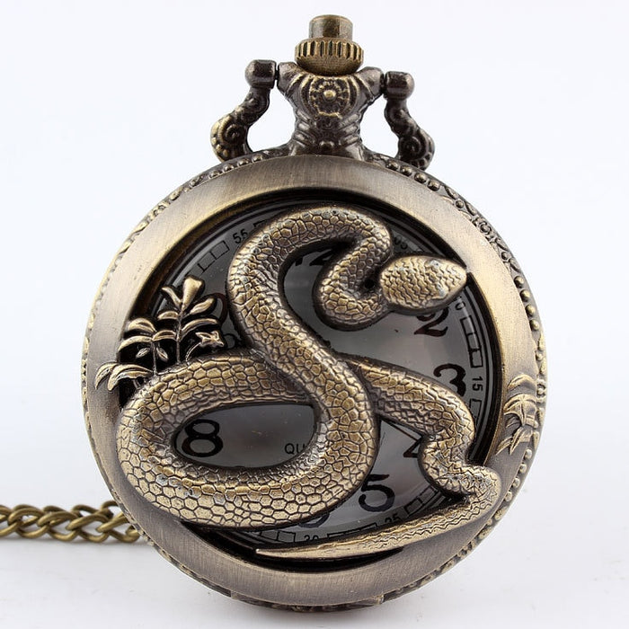 Dropshipping Bronze snake Hollow Quartz Pocket Watch Necklace Pendant Womens Men Gifts P278