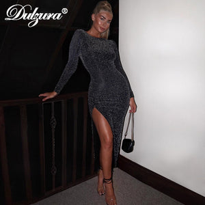Dulzura 2019 spring summer women dress glitter sparkle bling vestidos long sleeve