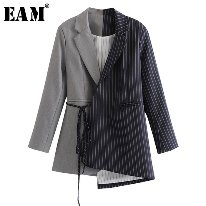 [EAM] Loose Fit black striped split joint bandage Jacket New Lapel Long Sleeve Women Coat Fashion Tide Autumn Winter 2019 JZ065