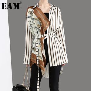 [EAM] Women Striped Scarf Print Bandage Blouse New Lapel Long Sleeve Loose Fit Shirt Fashion Tide Spring Autumn 2019 JZ5220