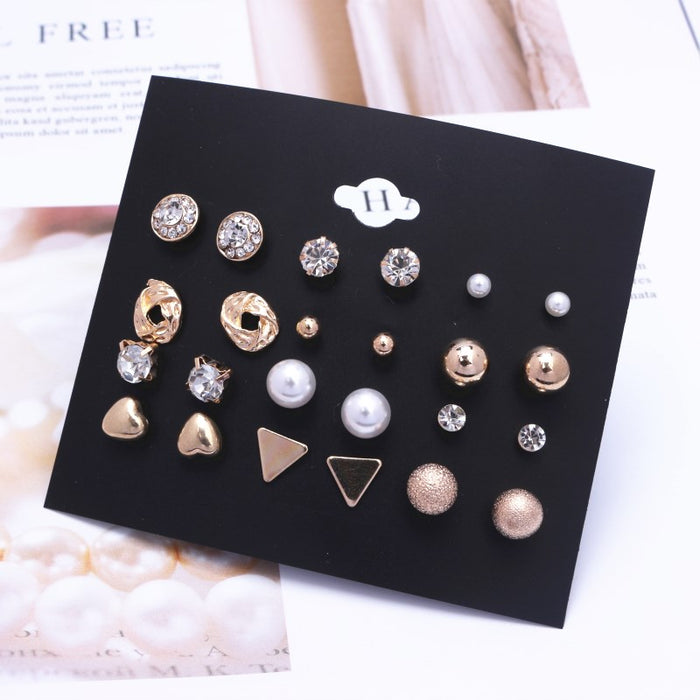 EK782 Trendy 12 pairs/set Cute Triangle Crystal Heart Stud Earrings for Women Ball Simulated Pearl Flower Earring Set brincos