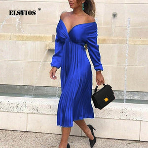 ELSVIOS Lady Autumn Sexy Off Shoulder Pleated Satin Dress Elegant Fit And Flare Long Sleeve dress Women Mid-calf party dresses