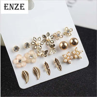 ENZE Free Shipping Women's Jewelry 9 pairs / set of synthetic pearl flowers butterfly earrings combination simple personality