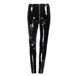 Women Leggings Shining Leather Pants Punk Style Women Zipper Trousers