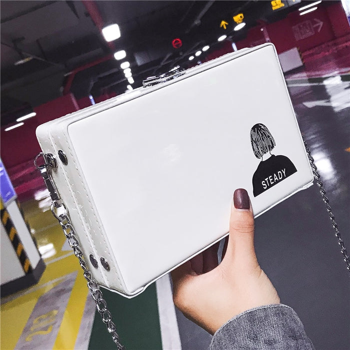 ETAILL Vintage Pu Leather Box Style Bucket  Bag Women's Casual Square Chains Totes Shoulder Bag Ladies Crossbody Messenger Bag