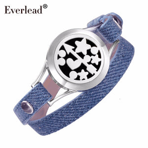 EVERLEAD Denim leather bracelet Aromatherapy Jewelry health locket Angel's Arrow Young girl Diffusers Blue bracelets for women