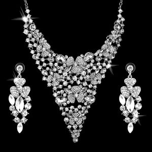 Earring necklace 2 piece set Ladies's Alloy Earrings Necklace Set Wedding Jewelry Gift Sets