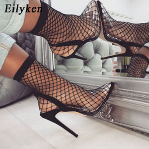 Eilyken Women Pointed Toe Mesh Holes Sandals Sexy Summer Shoes