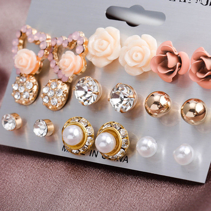 Elegant 9 Pairs/Set Women's Pearl Flower Crystal Studs Earrings Girls Elegant Rose Flower Heart Ear Jewelry Gift