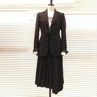 Elegant Dress Suits Women Long Blazer Jackets Single Breasted Office Ladies Pleated Mini Dress Suits With Belt Plus Size