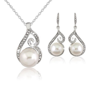 Elegant Fascinating Rhinestones Simulated Pearl Water Drop Necklace Earring Set for Women 2-Piece Jewelry Set