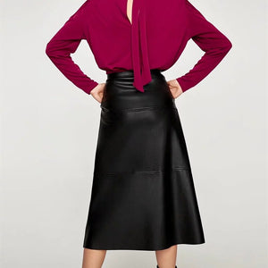Elegant High Waist Faux Leather Skirts New Arrival Office Lady Women Warm