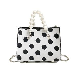 Elegant Lady Pearl Small Hand bags Sweet Polka Dot Chain Bag Crossbody Bags