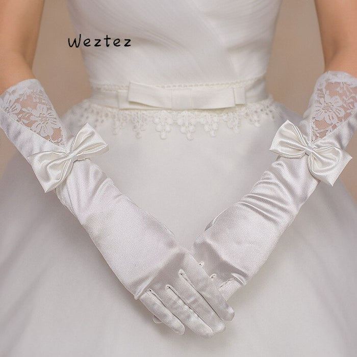 Elegant Long  White Wedding Gloves Elbow Length Woman Full finger Bridal