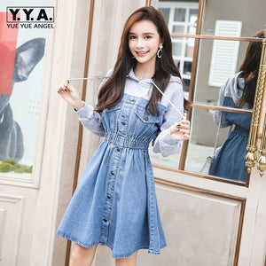 Elegant Slim Fit Denim Patchwork Hooded Long Sleeve A-Line Dress High Street Single Breasted College Sweet Knee Dress 2019 S-XL