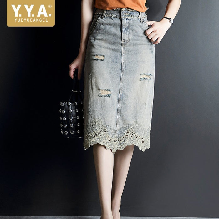 Elegant Summer Ladies Knee Length A-Line Denim Skirts High Waist Embroidery Vintage Hole Ripped Slim Women Wrap Skirts Plus Size