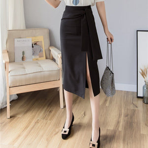 Elegant Temperament High Waist High Waist Slit Skirt Fashion Trend Solid Color