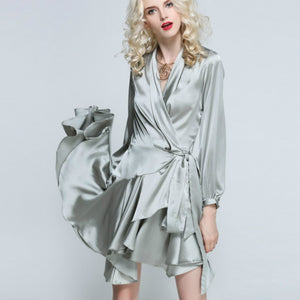 Elegant Woman Deep V-neck Lace Up Irregular Ruffles Long-sleeved Satin Dress Imitation Silk Slim Pleated Party Dress with Belt