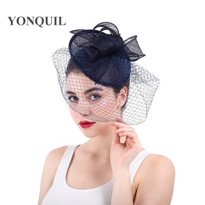 Elegant bride mesh Fascinators veils Navy hats Sinamay Cocktail headwear Women Linen millinery Hat Party accessories SYF293