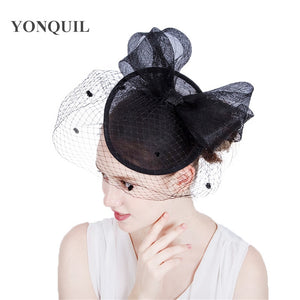 Elegant ladies chic hair fascinator veils hat bridal headwear with big bow hair accessories for derby event cocktail hat SYF167