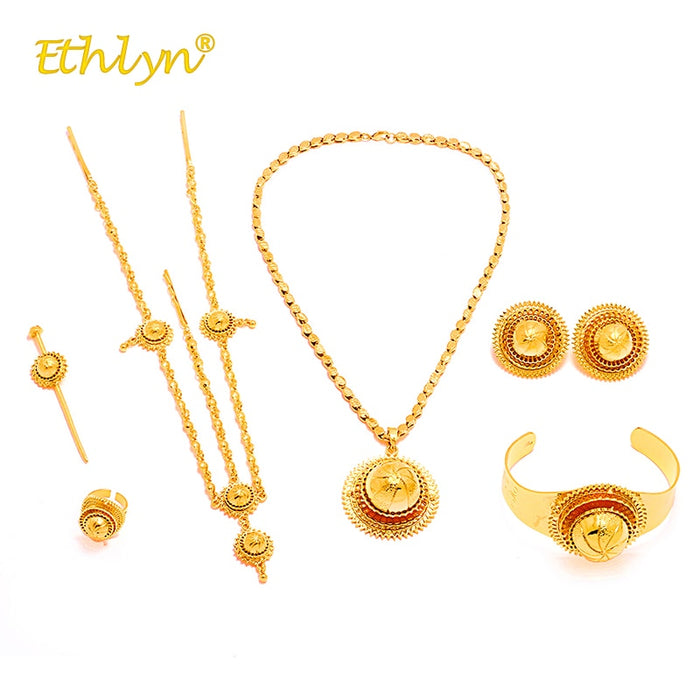 Ethlyn Jewelery Sets for Women Ethiopian African Luxury Gold Color Wedding Jewelry Set 6pcs ladies jewellery sets Big Earrings