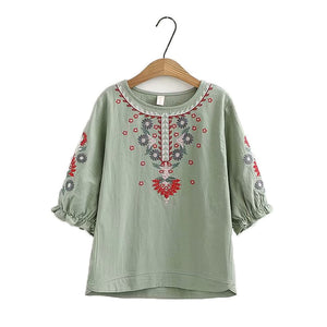 Ethnic Vintage White Floral Embroidered Blouses For Women Loose
