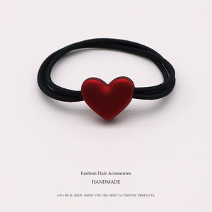 Euhra Popular Black Nylon Rubber Band Red Resin Love Dog Bow-Knot