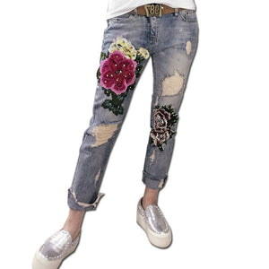 Europe Fashion Spring Flower Gilded Elastic Hole Feet beaded embroidery ripped denim female elastic Jeans