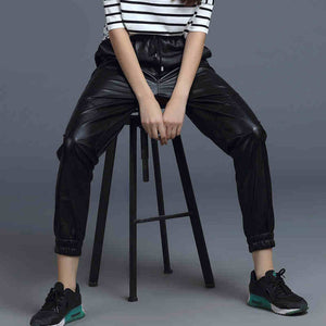 autumn winter drawstring faux leather casual harem pants women