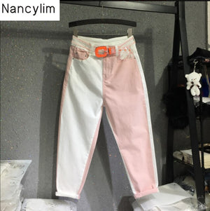 European Style Loose Color Patch Denim Pants Jeans Woman 2019 Summer Fall Fashion White Splice Pink Jeans Thin Harlan Pants