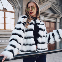 European Style White And Black Striped Women Jackets Coat Slim