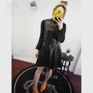 European fashion style autumn stand collar pure black sheepskin dress with belt robe femme ropa mujer LT2762