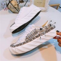 European station new water drill heavy industry pure manual string pearl flat bottom canvas shoes 100-lap leisure wind thick-sol