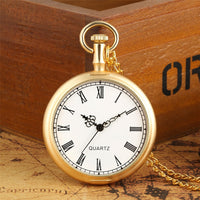 Exquisite Open Face Quartz Pocket Watch Roman Numbers Analog Display Pendant Clock with Necklace Chain for Men Women reloj fob