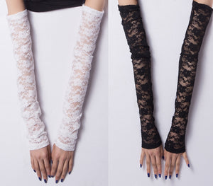 Extra Long Flowery Lace Evening Costume Arm Warmers sexy Women