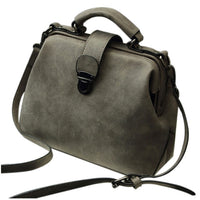 FGGS-Women Handbags PU Leather Vintage Doctor Bags Crossbody Bags For Women Shoulder Bags
