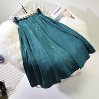 FLOWER SKY Skirts Autumn Spring Faux Suede Pleated High Waist Split Thick Stretchy Long Skirts