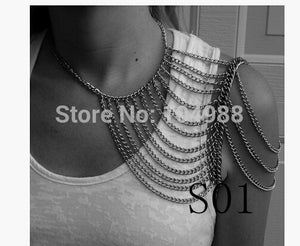 FREE SHIPPING 5PCS/LOT STYLE S01 WOMEN FASHION LAYERS SHOULDER CHAINS JEWELRY 3 COLORS