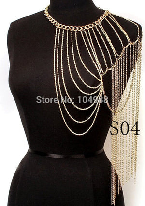 FREE SHIPPING 5PCS/LOT STYLE S04 WOMEN FASHION SEXY LAYERS SHOULDER CHAINS JEWELRY 3 COLORS
