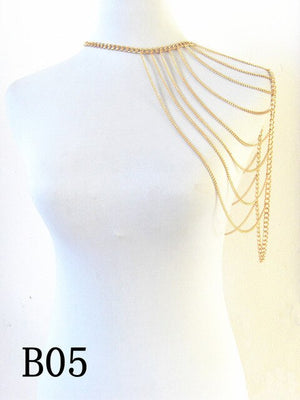 FREE SHIPPING STYLE A36 Gold colour CHAIN DOUBLE SHOULDERS CHAIN Chains JEWELRY 3 COLORS