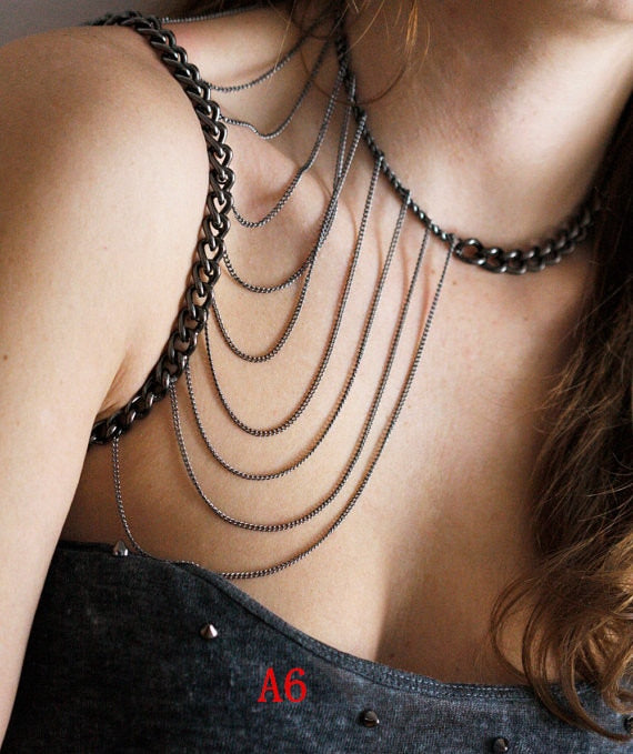 FREE SHIPPING STYLE A6 GRAY PLATED CHAIN SINGLE SHOULDER CHAIN JEWELRY 3 COLORS