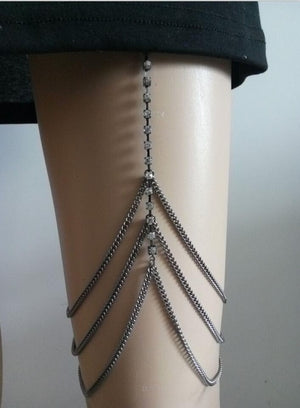 FREE SHIPPING STYLE L009 SILVER PLATED SILVER RHINESTONE LEG CHAINS THREE LAYERS THIGH CHAINS BODY JEWELRY 3 COLORS