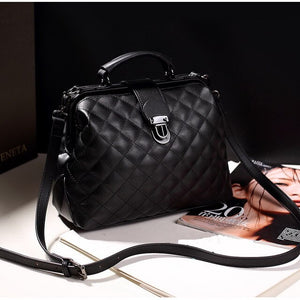 FUNMARDI Women Handbag PU Leather Small Doctor Bags Women Shoulder Bag For Lady Crossbody Bag Diamond Lattice Brand Bag WLHB1965