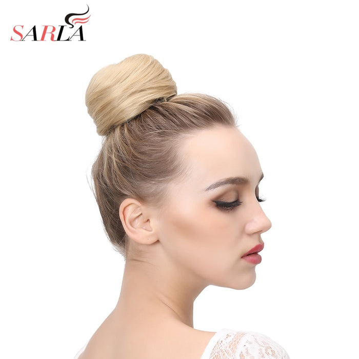 Fake Hair Bun Extension Clip in on Synthetic Donut Postiche Cheveux Drawstring Chignon Hairpiece Updo Hair Piece For Women Q3