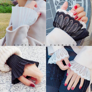 Fake sleeves autumn winter wild sweater decorative sleeves cotton pleated