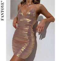 Fantoye Women Sexy Metal Color Mini Party Dress Summer Pink Glitter Bodycon Dress Shiny Slim Backless Nightclub Dresses Vestidos