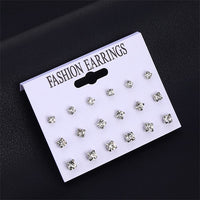 Fashion 12 Pair/Set Women Square Crystal Heart Stud Earrings Set for Women Piercing Simulated Pearl Flower Earrings Jewelry Gift